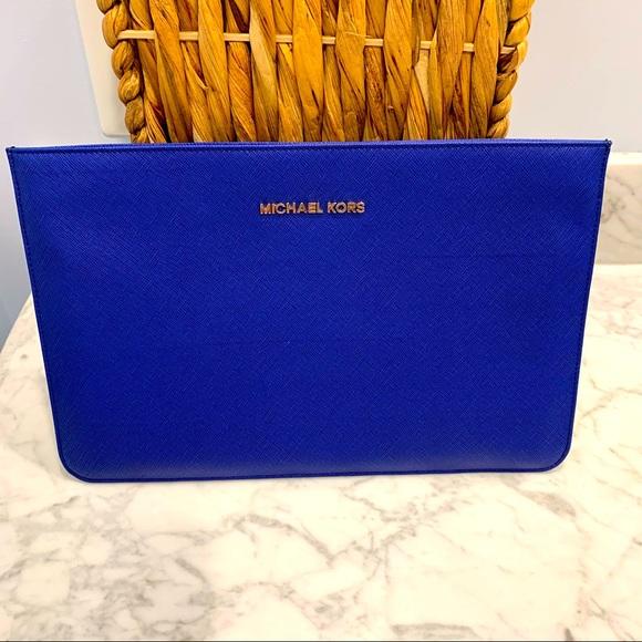 Michael Kors Blue Saffiano Leather IPad Sleeve
